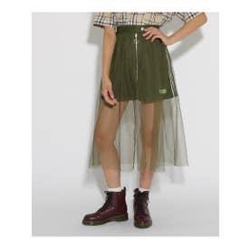 ★ニコラ掲載★チュール重ね台形 スカート (カーキ)