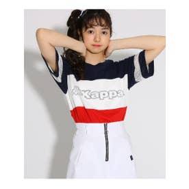 ★ニコラ掲載★【kappa】切替 Tシャツ (ネイビー)