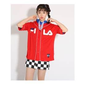 ★ニコラ掲載★【FILA】ベースボールシャツ (レッド)