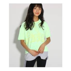 【adidas/アディダス/UVカット】オーバーサイズ ビックロゴTシャツ (ネオンイエロー(031))