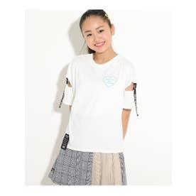 ★ニコラ掲載★【NO COFFEE/ノーコーヒー】袖テープTシャツ (オフホワイト(003))