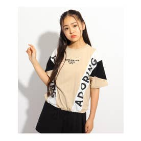 ブロッキングTシャツ (ライトベージュ)