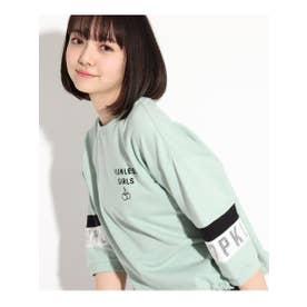 【コットン100%】7分袖ロゴミニ裏毛トップス (ライトグリーン)