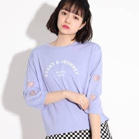 【コットン100%】透かしハートモチーフロングTシャツ (ライトパープル)