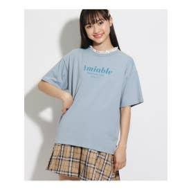 【コットン100%】襟レースTシャツ (ライトブルー)