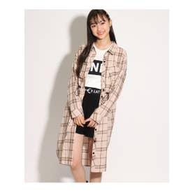 ★ニコラ掲載★ロングシャツ羽織り&Tシャツセット (ベージュ)