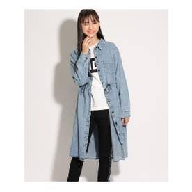 ★ニコラ掲載★ロングシャツ羽織り&Tシャツセット (ライトブルー)