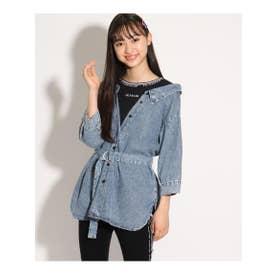ベルト付きドッキングシャツ (ライトブルー)