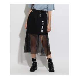 ★ニコラ掲載★メッシュ前開きスカート (ブラック)