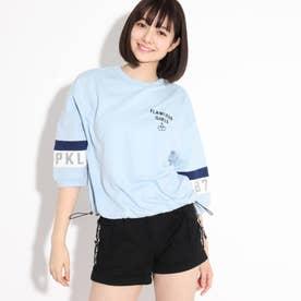 【コットン100%】7分袖ロゴミニ裏毛トップス (サックス(090))