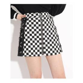 ★ニコラ掲載★合皮切り替えレースアップスカート (ブラック×ホワイト)