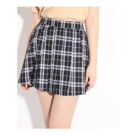 ★ニコラ掲載★ロゴラインプリーツスカート (ブラック)