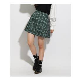 ★ニコラ掲載★ロゴラインプリーツスカート (ダークグリーン)