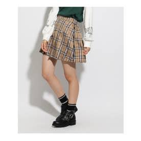 ★ニコラ掲載★ロゴラインプリーツスカート (ベージュ)