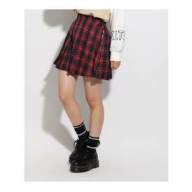 ★ニコラ掲載★ロゴラインプリーツスカート (レッド)