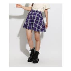 ★ニコラ掲載★ロゴラインプリーツスカート (パープル)