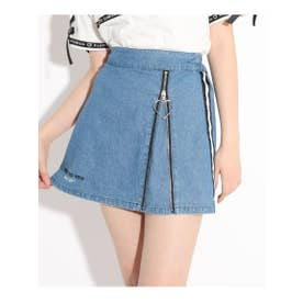 フロントZIP開きスカート (ブルー)