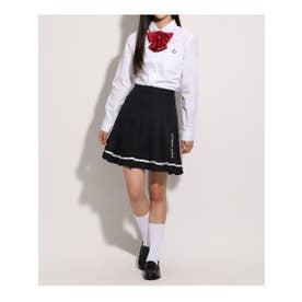 【卒服】リボン付 プリーツスカート (ネイビー)
