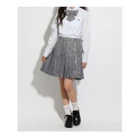 【卒服】リボン付 チェックプリーツスカート (グレー)