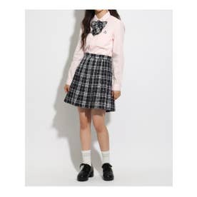 【卒服】リボン付 チェックプリーツスカート (ブラック)