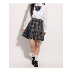 【卒服】リボン付 チェックプリーツスカート (レモンイエロー)