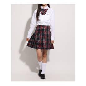 【卒服】リボン付 チェックプリーツスカート (レッド)