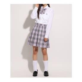 【卒服】リボン付 チェックプリーツスカート (ライトパープル)