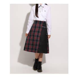 【卒服】リボン付きロングラップスカート (レッド)