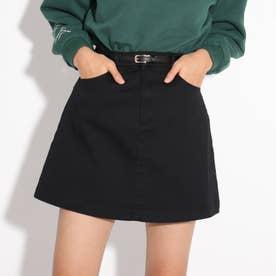 ★ニコラ掲載★合皮細ベルト付き台形スカート (ブラック)