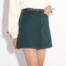 ★ニコラ掲載★合皮細ベルト付き台形スカート (ダークグリーン)