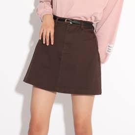 ★ニコラ掲載★合皮細ベルト付き台形スカート (ダークブラウン)