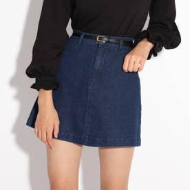 ★ニコラ掲載★合皮細ベルト付き台形スカート (ネイビー)