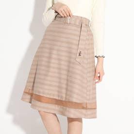 裾切替フレアスカート (ベージュ)