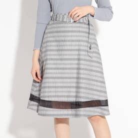 裾切替フレアスカート (グレー)