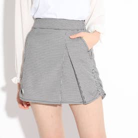★ニコラ掲載★裾シャーリングスカート (ブラックチェック)