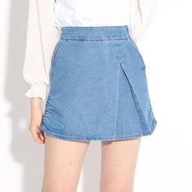 ★ニコラ掲載★裾シャーリングスカート (ブルー)