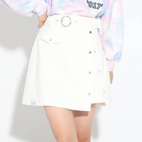 太ベルトドットボタンスカート (アイボリー)