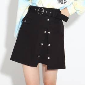 太ベルトドットボタンスカート (ブラック)