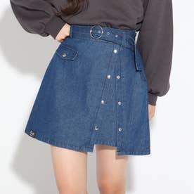 太ベルトドットボタンスカート (ネイビー)