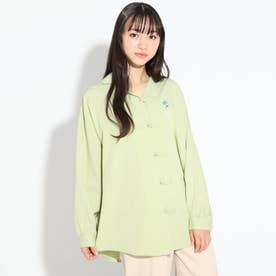 ★ニコラ掲載★刺繍ロゴ入りチャイナシャツ (オリーブグリーン)