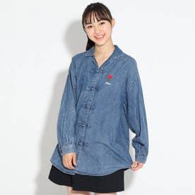★ニコラ掲載★刺繍ロゴ入りチャイナシャツ (ライトブルー)