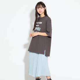 Tシャツ&アコーディオンプリーツスカート (チャコールグレー)