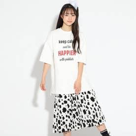 Tシャツ&アコーディオンプリーツスカート (オフホワイト)