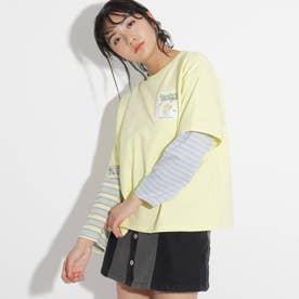 ★ニコラ掲載★ボーダー切替ロングTシャツ (レモンイエロー)