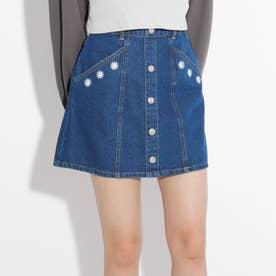 ★ニコラ掲載★フラワー刺繍台形スカート (ブルー)