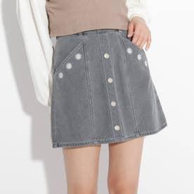 ★ニコラ掲載★フラワー刺繍台形スカート (ブラック)