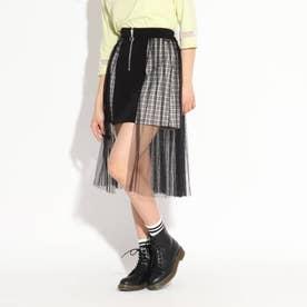 サイドロングチュール切り替えスカート (ブラック)