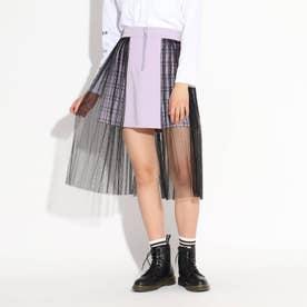 サイドロングチュール切り替えスカート (ライトパープル)