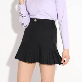 ★ニコラ掲載★裾プリーツスカート (ブラック)