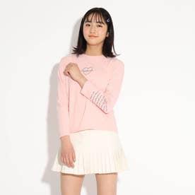 【オーガニックコットン(綿)100%】ハート刺繍ロンT (ベビーピンク)